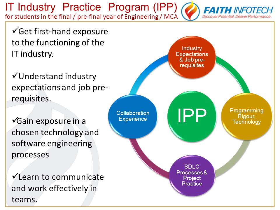IT Industry Practice Program (IPP) for students in the final / pre-final year of Engineering / MCA IPP Industry Expectations & Job pre- requisites Programming Rigour, Technology SDLC Processes & Project Practice Collaboration Experience Get first-hand exposure to the functioning of the IT industry.