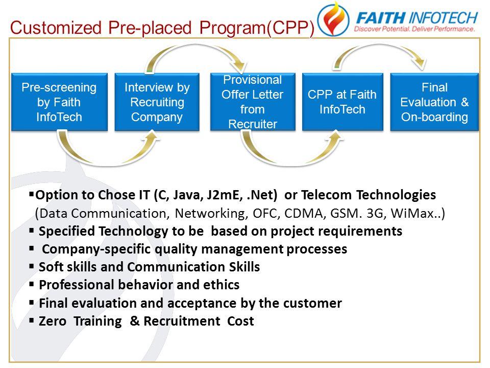  Option to Chose IT (C, Java, J2mE,.Net) or Telecom Technologies (Data Communication, Networking, OFC, CDMA, GSM.