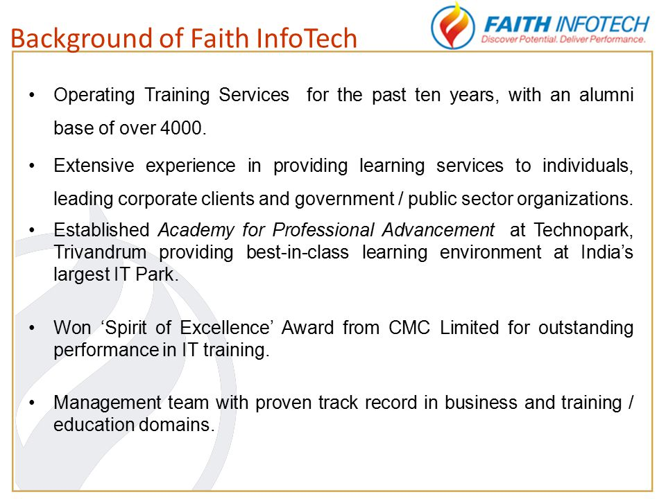 Operating Training Services for the past ten years, with an alumni base of over 4000.