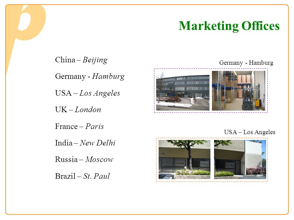 China – Beijing Germany - Hamburg USA – Los Angeles UK – London France – Paris India – New Delhi Russia – Moscow Brazil – St. Paul Germany - Hamburg U