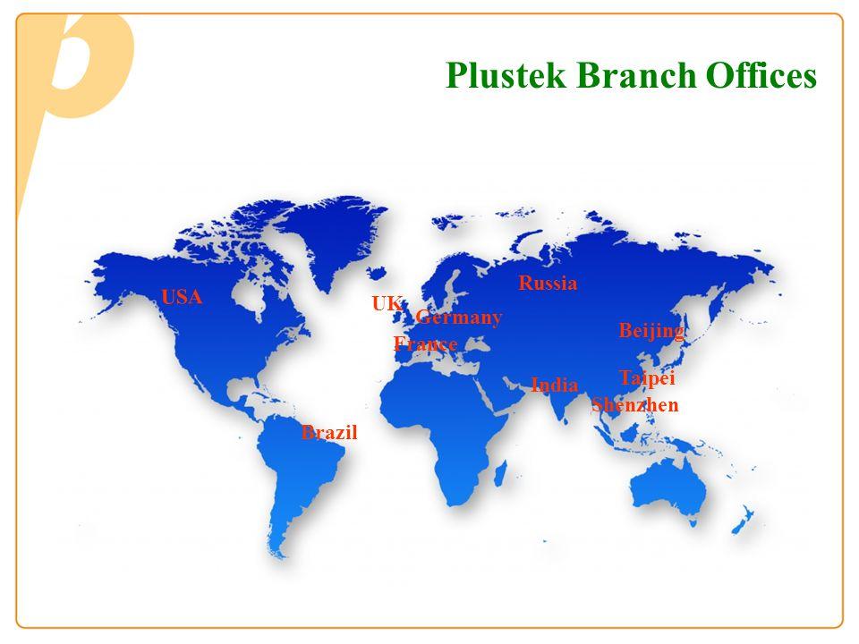 UK USA Germany Taipei Shenzhen France Beijing Russia Brazil India Plustek Branch Offices
