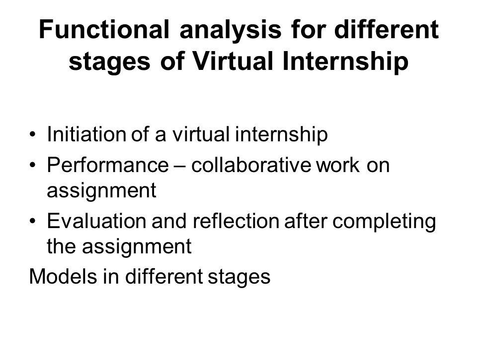 Functional analysis for different stages of Virtual Internship Initiation of a virtual internship Performance – collaborative work on assignment Evaluation and reflection after completing the assignment Models in different stages