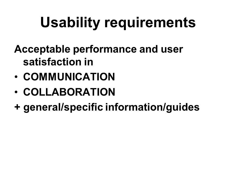 Usability requirements Acceptable performance and user satisfaction in COMMUNICATION COLLABORATION + general/specific information/guides