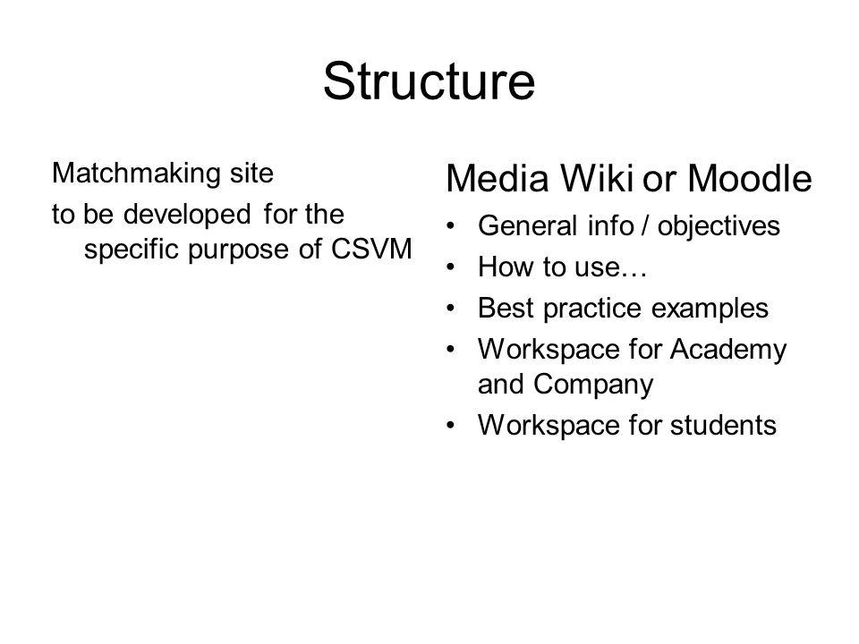 Structure Matchmaking site to be developed for the specific purpose of CSVM Media Wiki or Moodle General info / objectives How to use… Best practice examples Workspace for Academy and Company Workspace for students