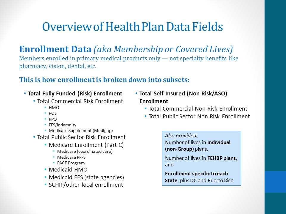 Overview of Health Plan Data Fields Starting with: Total Medical Enrollment — the total number of members in medical plans (risk and non-risk) nationa