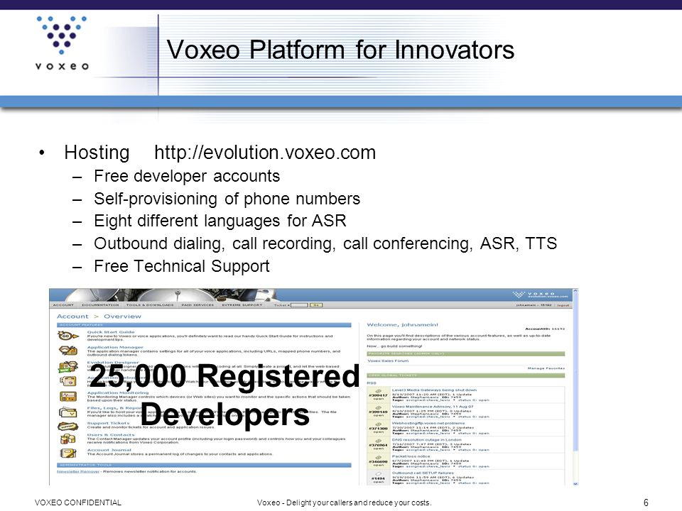 7 Voxeo - Delight your callers and reduce your costs.VOXEO CONFIDENTIAL Voxeo Platform for Innovators Premise –Free downloadable two port platform –Installs in minutes –Includes App Server, Softphone, US English ASR & TTS –Prophecy 8 includes Designer, web-based app creation tool –Now also includes VoIP account provisioning 50,000 Downloads To Date