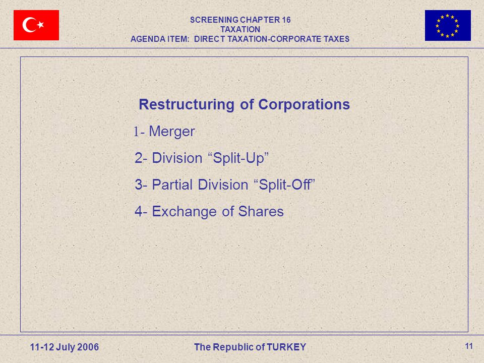 11 11-12 July 2006The Republic of TURKEY Restructuring of Corporations 1- Merger 2- Division Split-Up 3- Partial Division Split-Off 4- Exchange of Shares SCREENING CHAPTER 16 TAXATION AGENDA ITEM: DIRECT TAXATION-CORPORATE TAXES