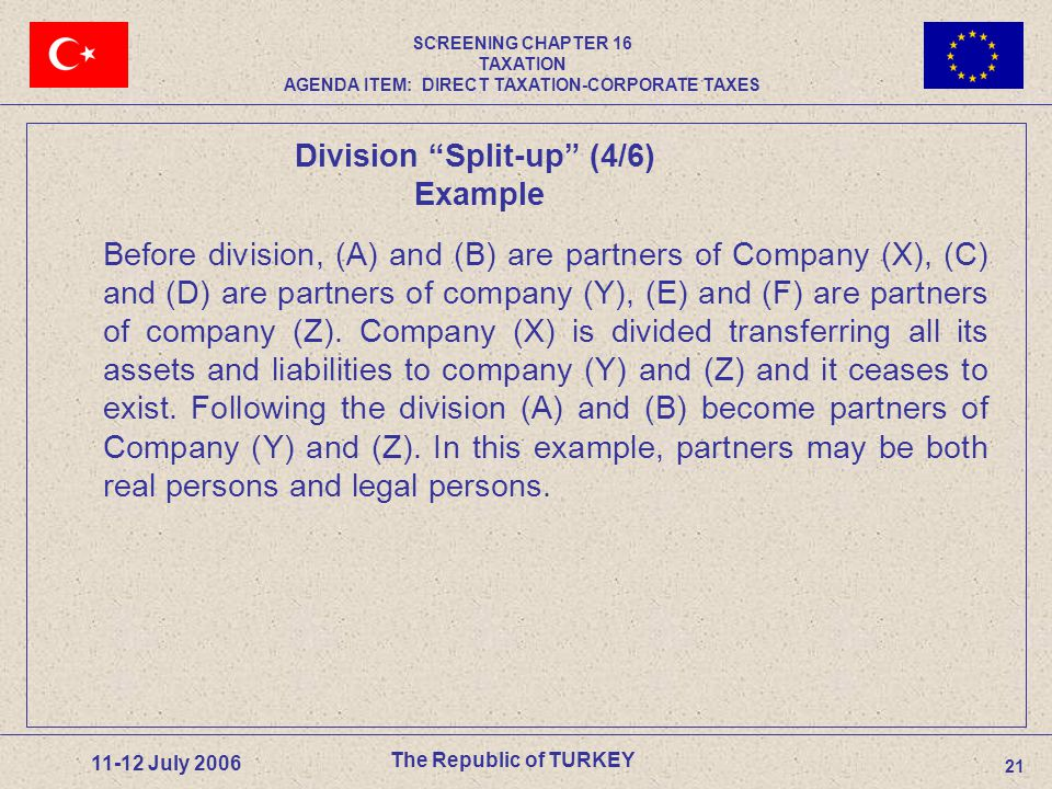 21 11-12 July 2006 Before division, (A) and (B) are partners of Company (X), (C) and (D) are partners of company (Y), (E) and (F) are partners of company (Z).