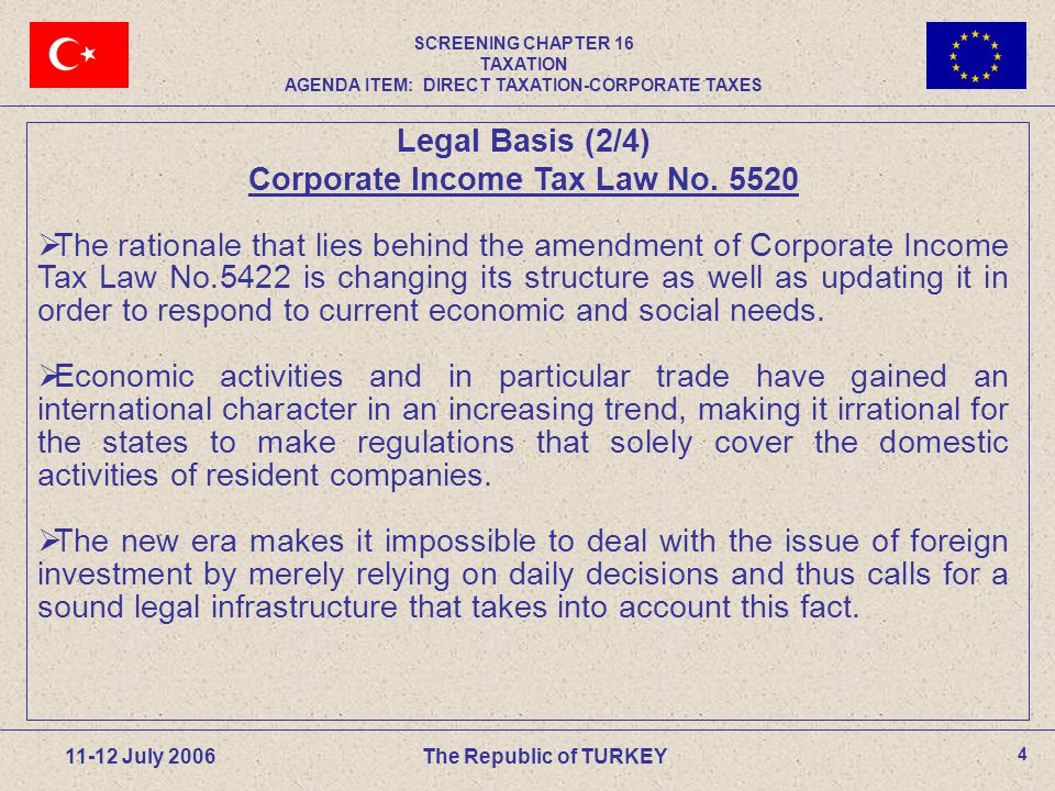 35 11-12 July 2006The Republic of TURKEY Exchange of Shares(4/4) Example (Cont d) For tax-free Exchange of Shares  Receiving company (Y) and Transferring company (X) should both be equity companies,  Receiving company (Y) should be full liable,  Receiving company (Y) should take over shares of the transferring company (X) such that it obtains the majority in the management and capital stock of (X),  Pro-rata issue to the shareholders of the transferring company (X) securities representing the capital of receiving company (Y).