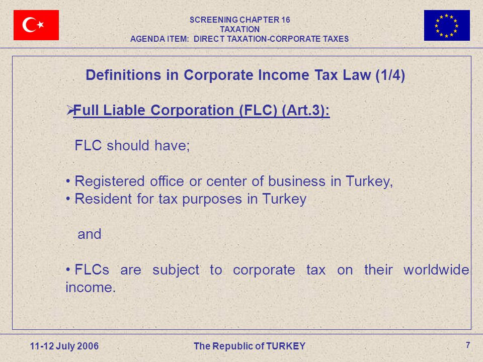 18 11-12 July 2006 The Republic of TURKEY Definition: A full-liable equity company, on being dissolved without liquidation transfers to two or more existing or new full-liable equity companies all of its assets and liabilities at book value, in exchange for the pro-rata issue to its shareholders of securities representing the capital of the companies receiving the assets and liabilities, and if applicable a cash payment not exceeding 10% of the nominal value of those securities.