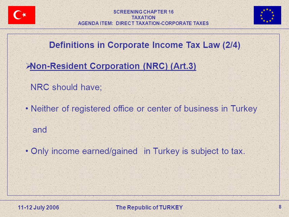 39 11-12 July 2006 The Republic of TURKEY Foreign Dividends and Branch Profits of FLCs  Economic double taxation related to dividends received by a FLC from a foreign company (subsidiary) or related to foreign branch profits is eliminated either by exemption or tax credit method.