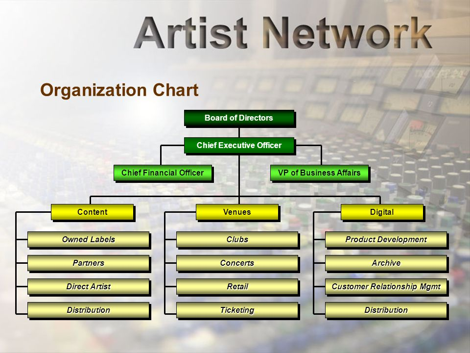 Organization Chart Content Chief Financial Officer VP of Business Affairs Venues Digital ClubsClubs ConcertsConcerts RetailRetail TicketingTicketing Product Development ArchiveArchive Customer Relationship Mgmt DistributionDistribution Board of Directors Chief Executive Officer Owned Labels PartnersPartners Direct Artist DistributionDistribution