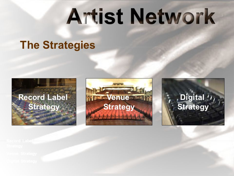 The Strategies Record Label Strategy Venue Strategy Digital Strategy Record Label Strategy Venue Strategy Digital Strategy