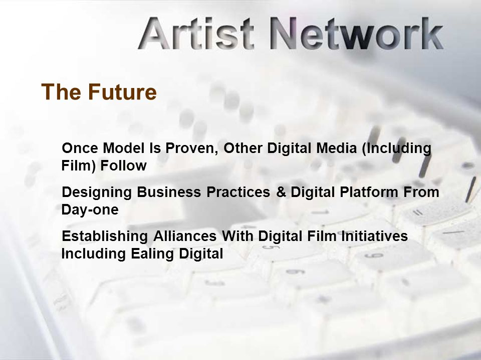 The Future Once Model Is Proven, Other Digital Media (Including Film) Follow Designing Business Practices & Digital Platform From Day-one Establishing Alliances With Digital Film Initiatives Including Ealing Digital