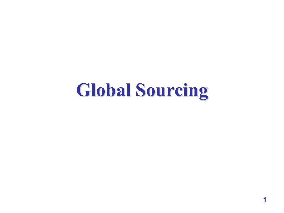 1 Global Sourcing