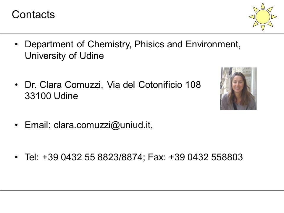 Contacts Department of Chemistry, Phisics and Environment, University of Udine Dr. Clara Comuzzi, Via del Cotonificio 108 33100 Udine Email: clara.com