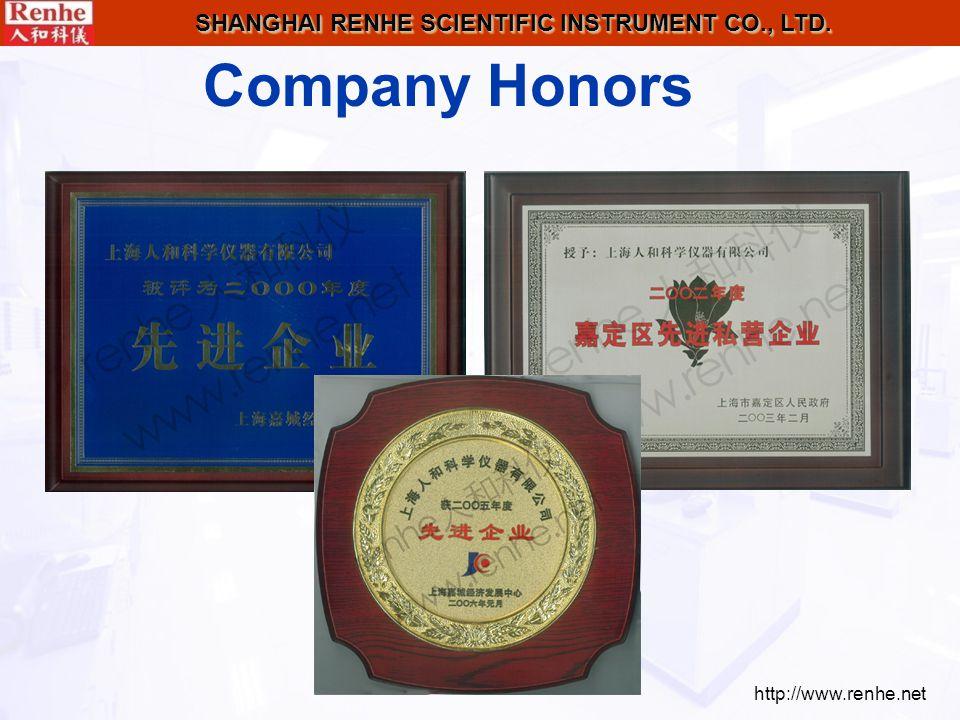 http://www.renhe.net SHANGHAI RENHE SCIENTIFIC INSTRUMENT CO., LTD. Company Honors