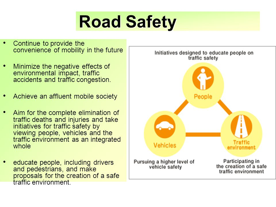 Road Safety Continue to provide the convenience of mobility in the future Minimize the negative effects of environmental impact, traffic accidents and traffic congestion.