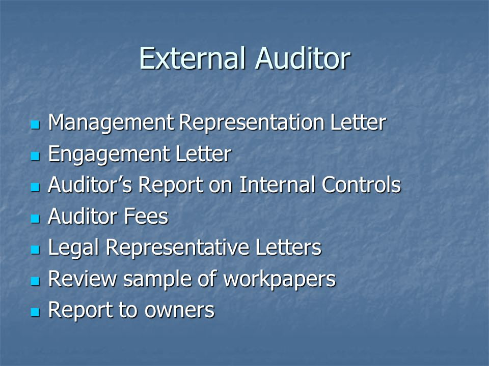External Auditor Management Representation Letter Management Representation Letter Engagement Letter Engagement Letter Auditor's Report on Internal Controls Auditor's Report on Internal Controls Auditor Fees Auditor Fees Legal Representative Letters Legal Representative Letters Review sample of workpapers Review sample of workpapers Report to owners Report to owners