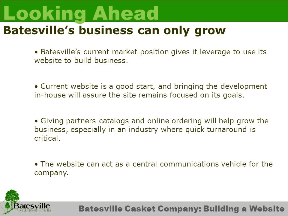Batesville Casket Company: Building a Website Looking Ahead Batesville's business can only grow Batesville's current market position gives it leverage to use its website to build business.