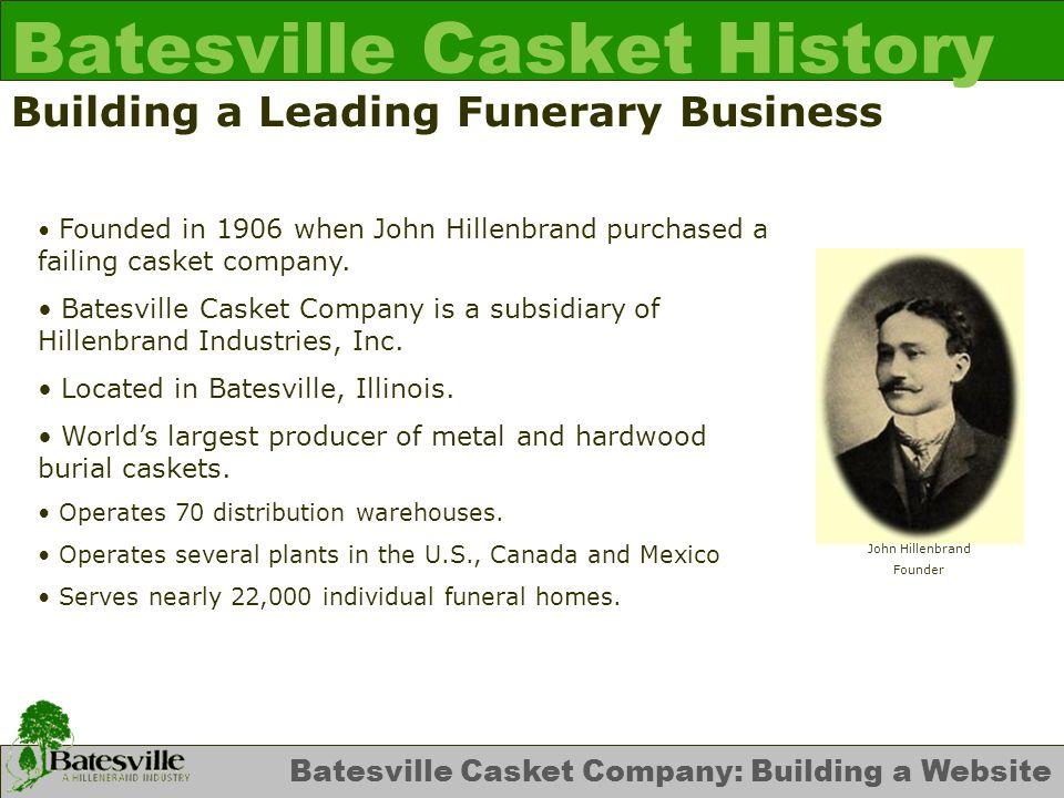 Batesville Casket Company: Building a Website Batesville Casket History Organizational Change In early 1996 Batesville Casket Company reorganized its business into a Strategic Business Unit model.
