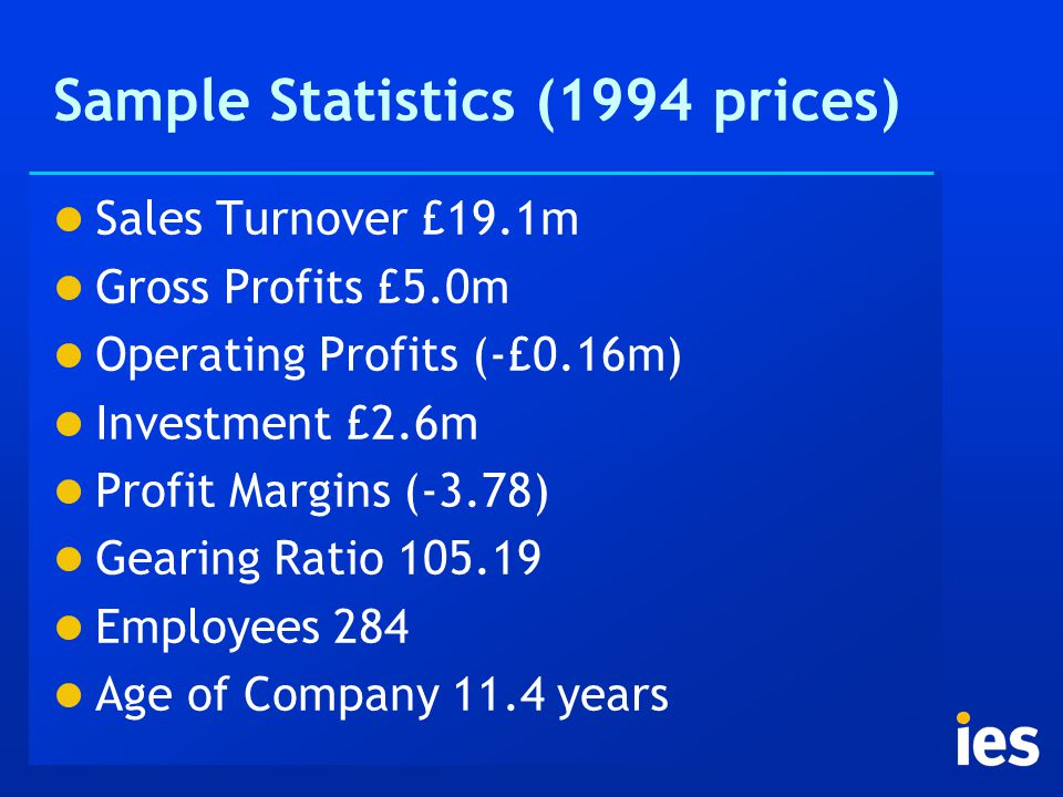 Sample Statistics (1994 prices) Sales Turnover £19.1m Gross Profits £5.0m Operating Profits (-£0.16m) Investment £2.6m Profit Margins (-3.78) Gearing Ratio 105.19 Employees 284 Age of Company 11.4 years