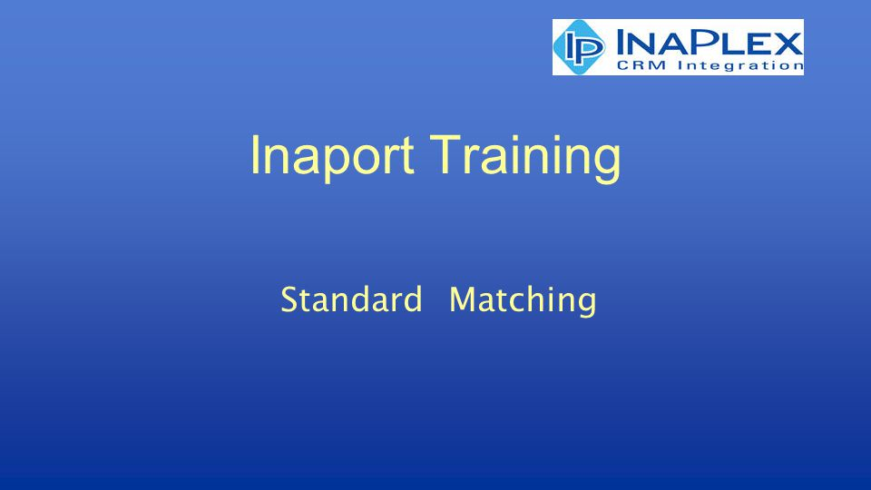 Inaport Training Standard Matching