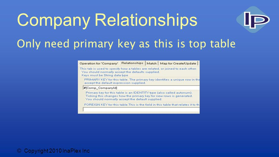 © Copyright 2010 InaPlex Inc Company Relationships Only need primary key as this is top table