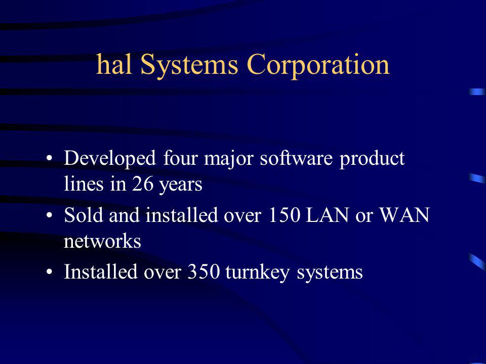 hal Systems Corporation Founded in Dallas, Texas in 1974, hal Systems produces and markets high quality application software, systems support, and con
