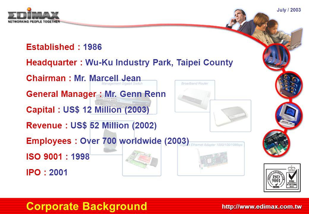 July / 2003 http://www.edimax.com.tw Corporate Background Established : 1986 Headquarter : Wu-Ku Industry Park, Taipei County Chairman : Mr. Marcell J