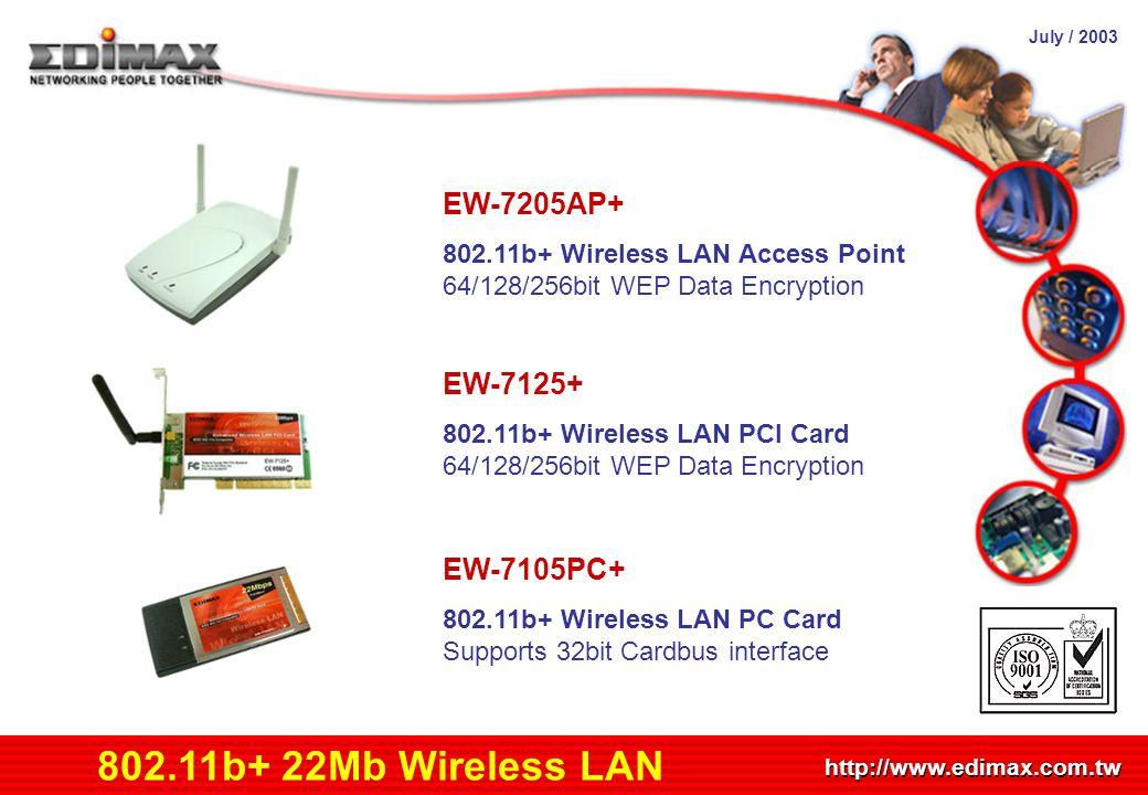 July / 2003 http://www.edimax.com.tw Product Schedule 802.11b+ 22Mb Wireless LAN EW-7205AP+ 802.11b+ Wireless LAN Access Point 64/128/256bit WEP Data