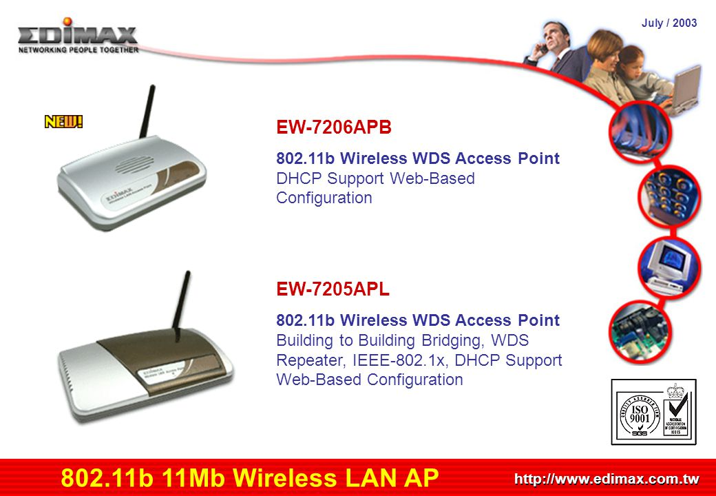 July / 2003 http://www.edimax.com.tw Product Schedule 802.11b 11Mb Wireless LAN AP EW-7206APB 802.11b Wireless WDS Access Point DHCP Support Web-Based Configuration EW-7205APL 802.11b Wireless WDS Access Point Building to Building Bridging, WDS Repeater, IEEE-802.1x, DHCP Support Web-Based Configuration