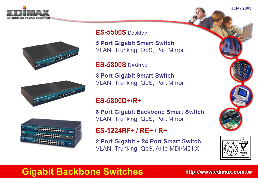 July / 2003 http://www.edimax.com.tw Gigabit Backbone Switches ES-5500S Desktop 5 Port Gigabit Smart Switch VLAN, Trunking, QoS, Port Mirror ES-5800S