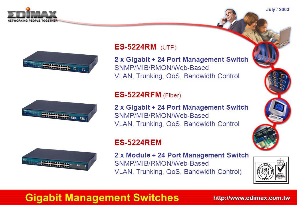 July / 2003 http://www.edimax.com.tw Product Schedule Gigabit Management Switches ES-5224RM (UTP) 2 x Gigabit + 24 Port Management Switch SNMP/MIB/RMO