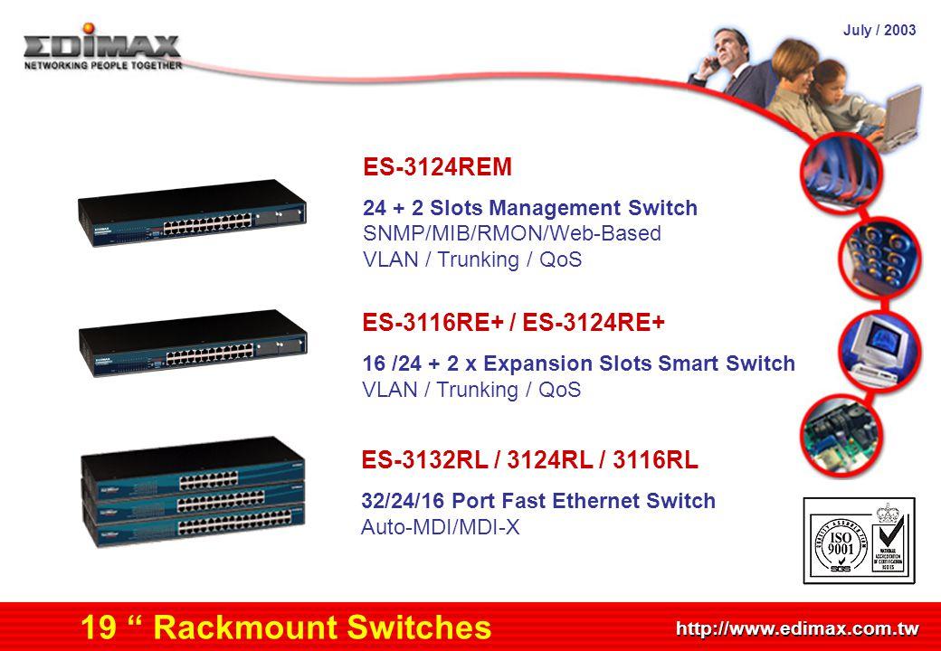 "July / 2003 http://www.edimax.com.tw Product Schedule ES-3132RL / 3124RL / 3116RL 32/24/16 Port Fast Ethernet Switch Auto-MDI/MDI-X 19 "" Rackmount Swi"