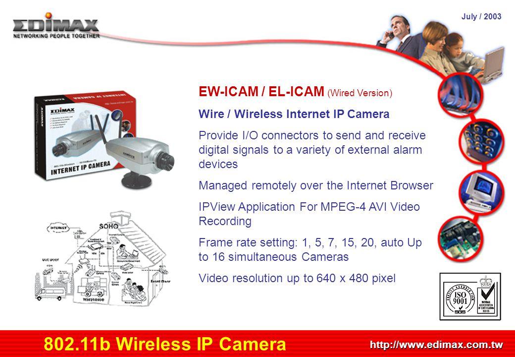 July / 2003 http://www.edimax.com.tw Product Schedule 802.11b Wireless IP Camera EW-ICAM / EL-ICAM (Wired Version) Wire / Wireless Internet IP Camera