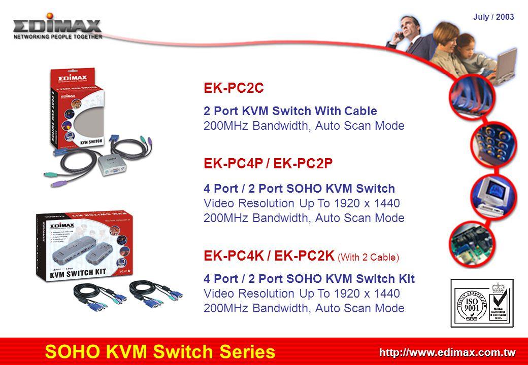 July / 2003 http://www.edimax.com.tw Product Schedule SOHO KVM Switch Series EK-PC2C 2 Port KVM Switch With Cable 200MHz Bandwidth, Auto Scan Mode EK-