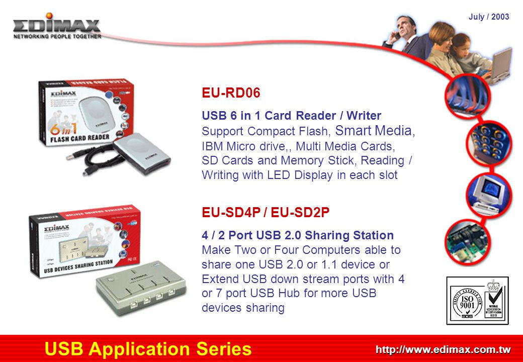 July / 2003 http://www.edimax.com.tw Product Schedule USB Application Series EU-RD06 USB 6 in 1 Card Reader / Writer Support Compact Flash, Smart Medi