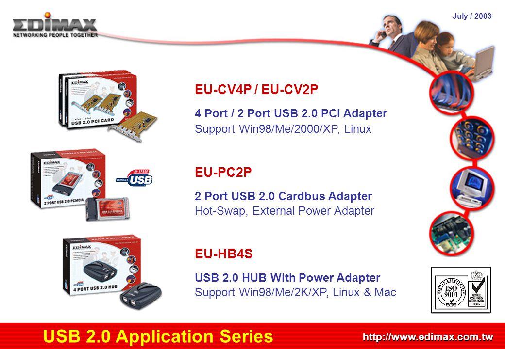 July / 2003 http://www.edimax.com.tw Product Schedule USB 2.0 Application Series EU-CV4P / EU-CV2P 4 Port / 2 Port USB 2.0 PCI Adapter Support Win98/M