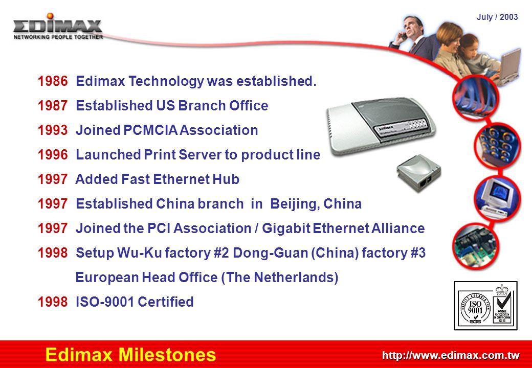 July / 2003 http://www.edimax.com.tw Edimax Milestones 1986 Edimax Technology was established. 1987 Established US Branch Office 1993 Joined PCMCIA As