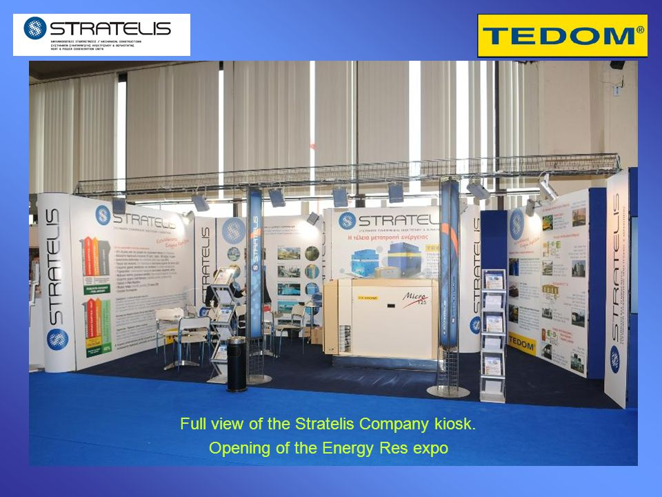 Full view of the Stratelis Company kiosk. Opening of the Energy Res expo