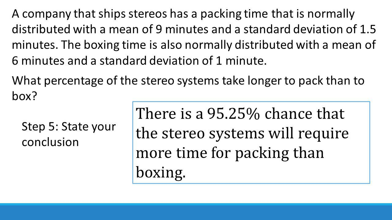 A company that ships stereos has a packing time that is normally distributed with a mean of 9 minutes and a standard deviation of 1.5 minutes.