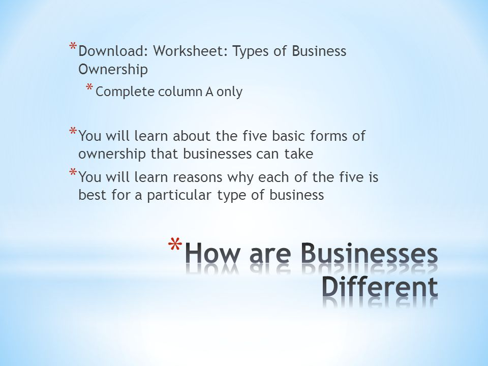 * Download: Worksheet: Types of Business Ownership * Complete column A only * You will learn about the five basic forms of ownership that businesses can take * You will learn reasons why each of the five is best for a particular type of business