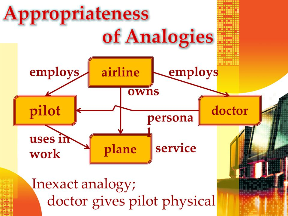 pilot doctor airline plane employs uses in work owns Inexact analogy; doctor gives pilot physical persona l service