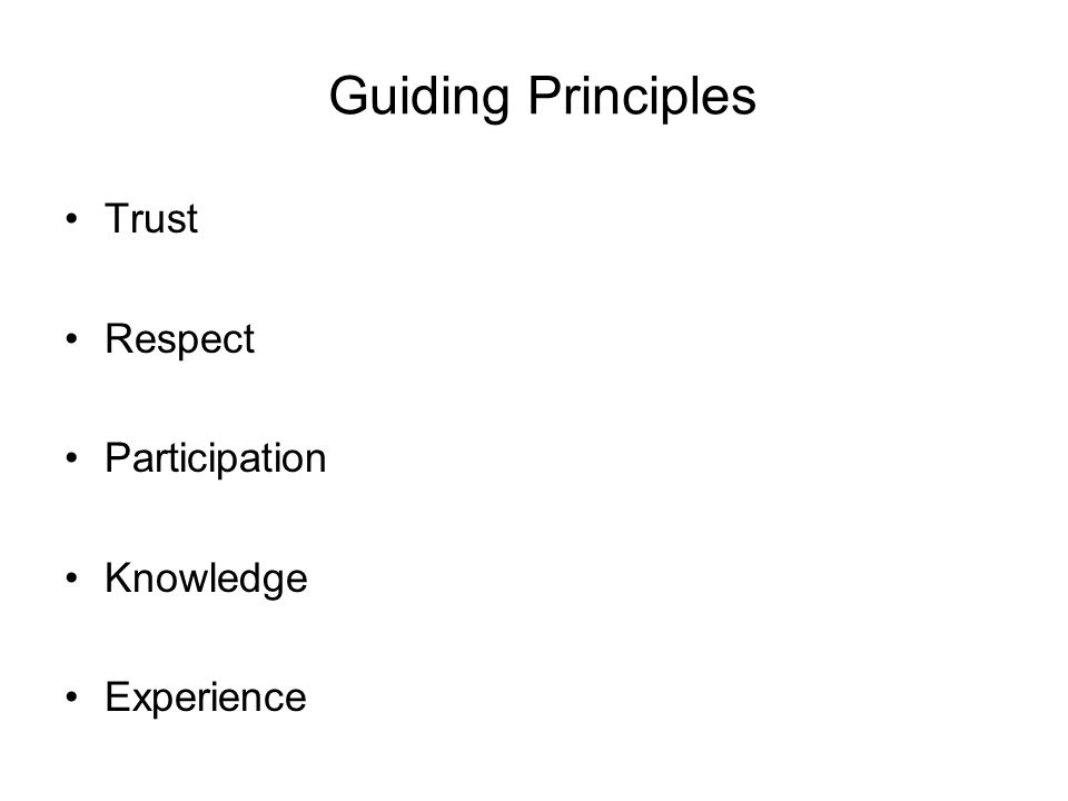 Guiding Principles Trust Respect Participation Knowledge Experience