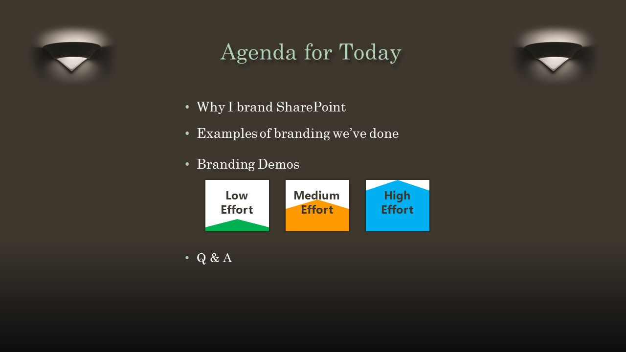 Title and Content Layout with List Agenda for Today Why I brand SharePoint Low Effort Medium Effort High Effort Examples of branding we've done Brandi