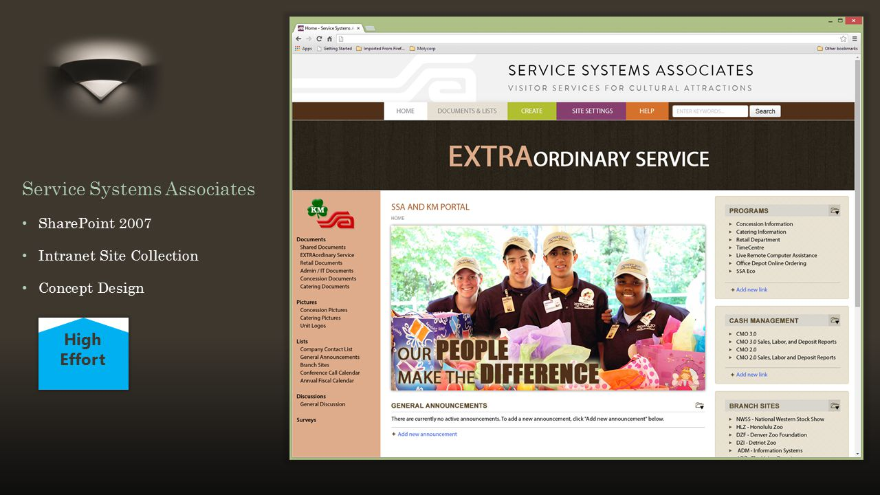 Title and Content Layout with List Service Systems Associates SharePoint 2007 Intranet Site Collection Concept Design High Effort