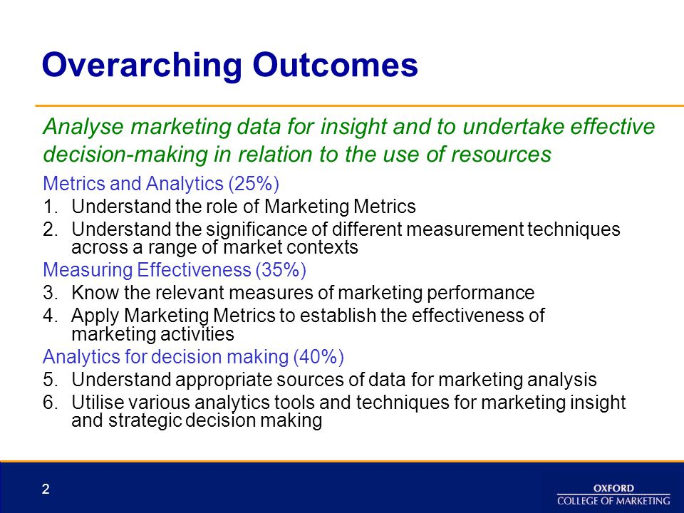 Overarching Outcomes Metrics and Analytics (25%) 1.Understand the role of Marketing Metrics 2.Understand the significance of different measurement tec