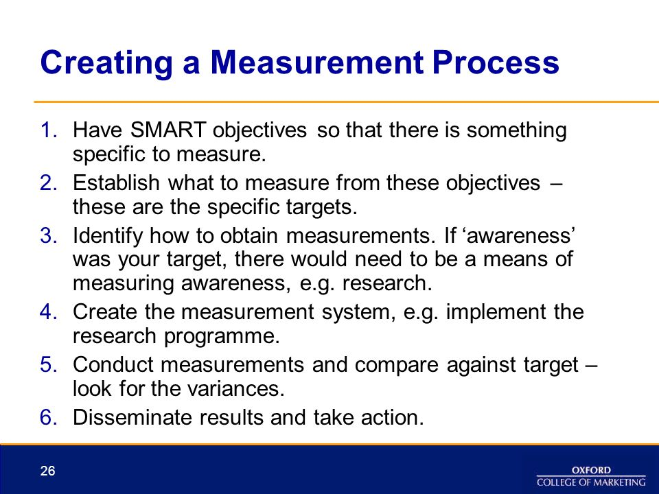 26 Creating a Measurement Process 1.Have SMART objectives so that there is something specific to measure. 2.Establish what to measure from these objec