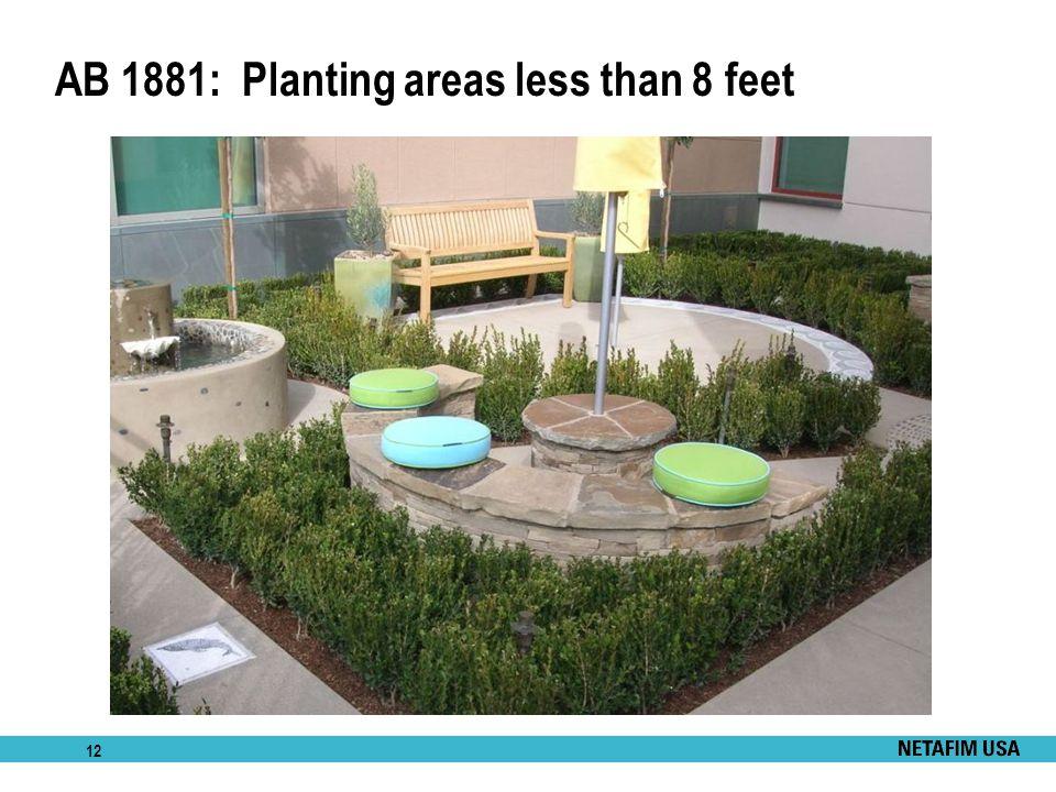12 AB 1881: Planting areas less than 8 feet